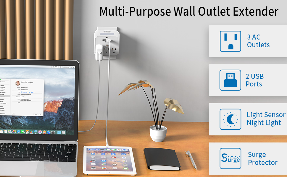 3 Outlet Wall Adapter Plug Expanders