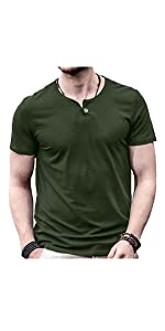 Aiyino Men's Casual Slim Fit Short Sleeve Henley T Shirts