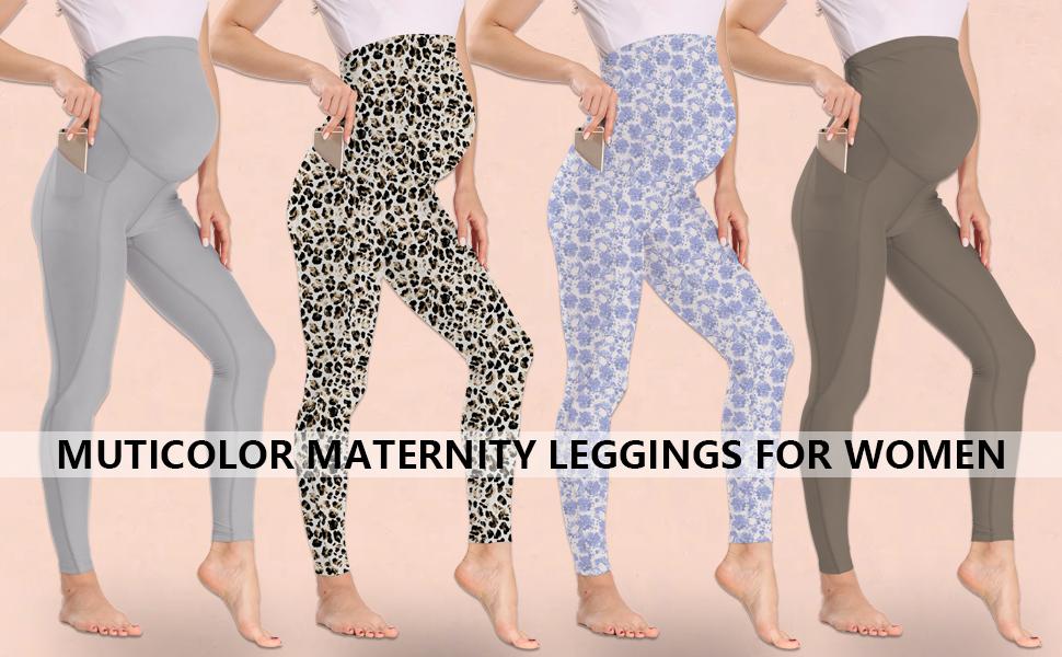 multiple colors women yoga pants for pregnancy, high waisted maternity leggings