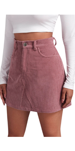 Women Corduroy A Line Mini Skirt