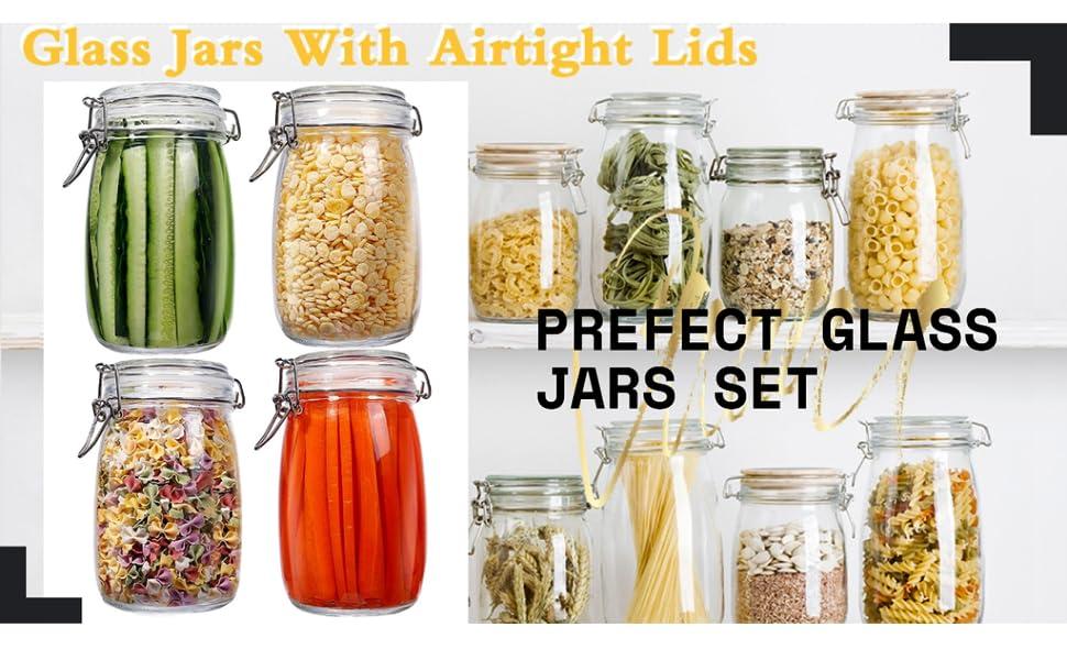 FOOD STORAGE GLASS JARS FOR PICKEL MASLA DREID HERBS STORAGE GLASS JARS CONTAINER