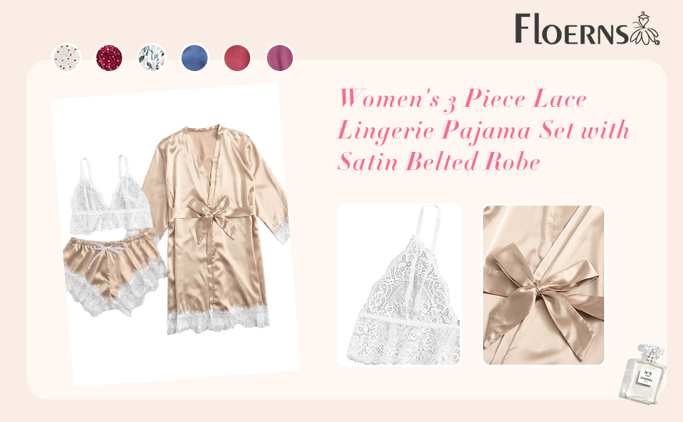 Floerns Women's 3 Piece Lace Lingerie Pajama Set with Satin Belted Robe
