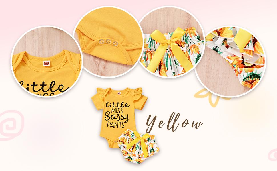 yellow ruffle romper+sunflower print shorts