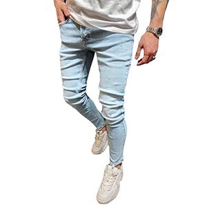 light blue jeans for men skinny slim fit regular fashion hip hop stretch teen young male