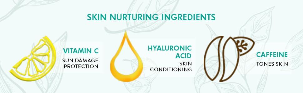 vitamin C sun damage protection skin conditioning caffeine tones skin skin nurturing ingedients acid