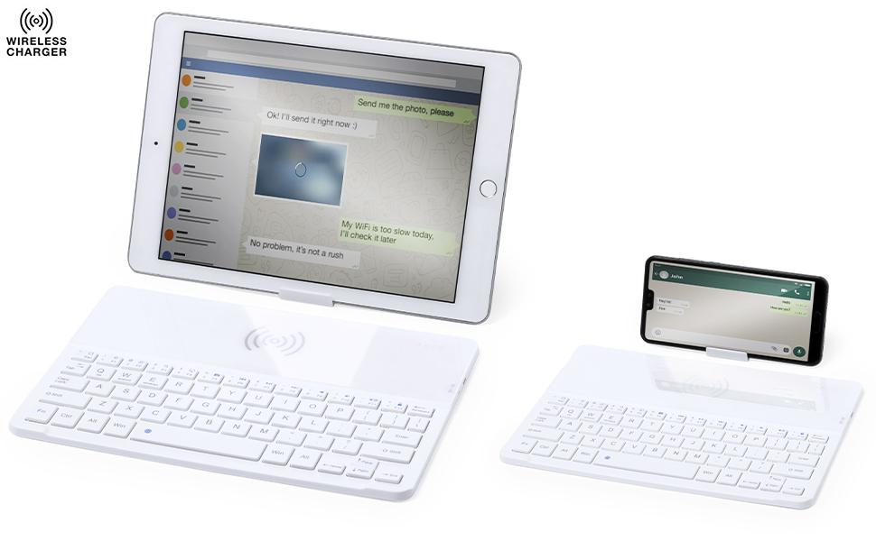 MKTOSASA - Teclado Inalámbrico Bluetooth Portátil con Cargador Inalámbrico y Soporte para Smartphones/Tabletas. Compatible con iOS, Android y Windows ...