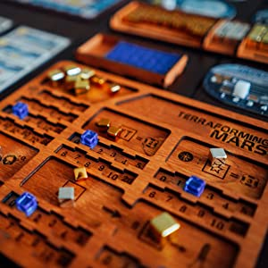 Terraforming Mars player boards made of wood