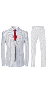 mens stripe printed suit slim fit one button single breasted 3 piece dress suit set