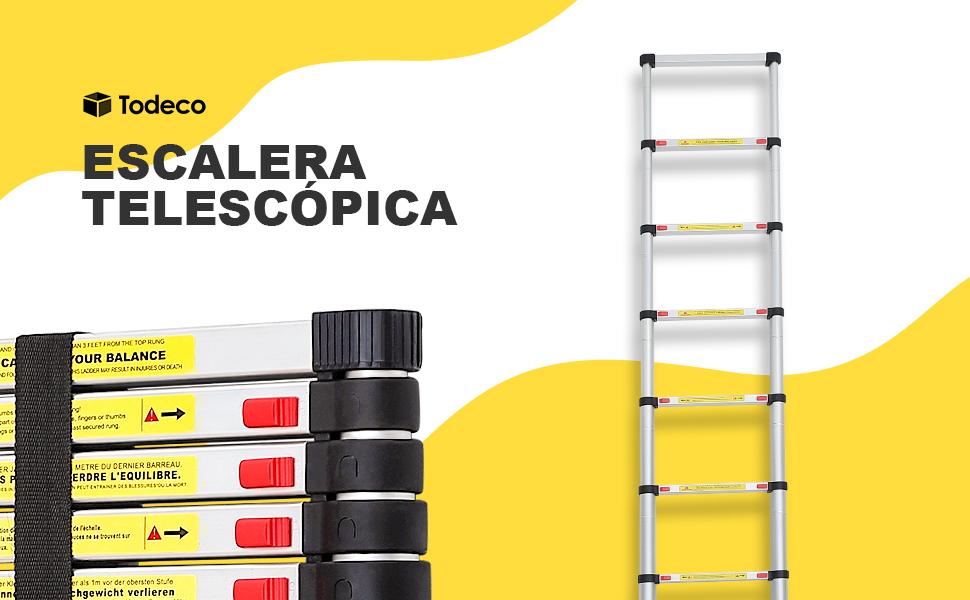 Todeco - Escalera Telescópica, Escalera Plegable - Carga máxima: 150 kg - Estándar/Certificación: EN131 - 3,8 Metro(s), EN 131: Amazon.es: Bricolaje y herramientas