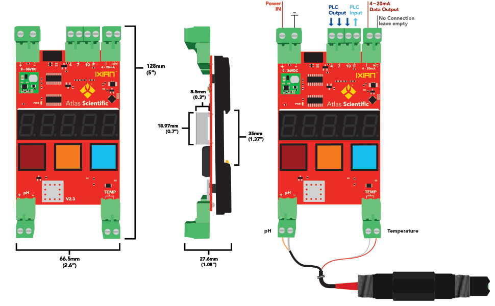 Atlas Scientific, Industrial pH Kit, IXIAN, pH, Transmitter, Probe