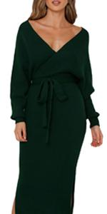 Dark Green sweater Midi dress