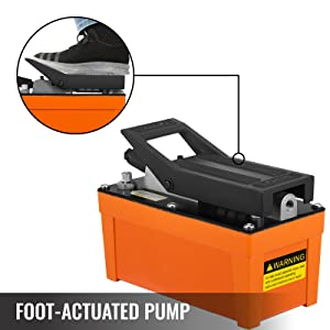 Air Powered Hydraulic Foot Fedal Pump 10,000 PSI Rigging 3//8 NPT Rubber