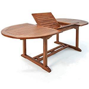 Deuba Conjunto de jardín de madera set de 1 mesa con extensión y ...