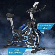 Speedbike mit Riemenantrieb und 10 kg Schwungmasse