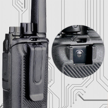 walkie-talkie with flexible removable belt clip