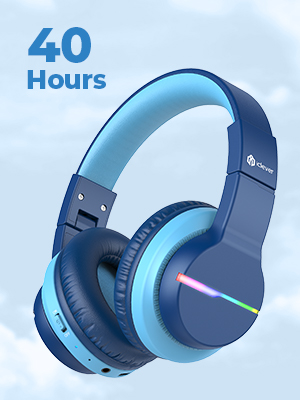 kids headphones with microphone wireless bluetooth headphones for kids children boys school study - IClever BTH12 Kids Headphones, Colorful LED Lights Kids Wireless Headphones With 74/85/94dB Volume Limited Over Ear, 40H Playtime, Bluetooth 5.0, Built-in Mic For School/Tablet/PC/Airplane, Blue