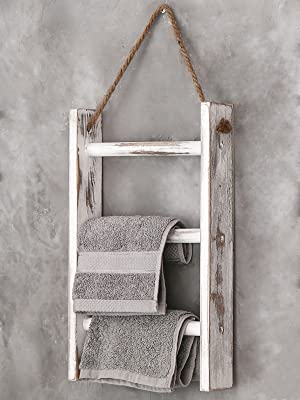 Wall-Hanging Towel Storage Ladder with Rope