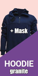 hoodie granite hood navy blue sweatshirt warm sport cool jogging fleece mask