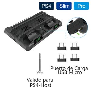 Zacro Soporte Vertical PS4 Pro/PS4 Slim/PS4 Ventilador Multifuncional Único Aparato,16 Ranuras para Discos de Juegos,3m Cable de Carga,Puerto de carga,4 Mini-adaptador micro de USB para Mando: Amazon.es: Videojuegos