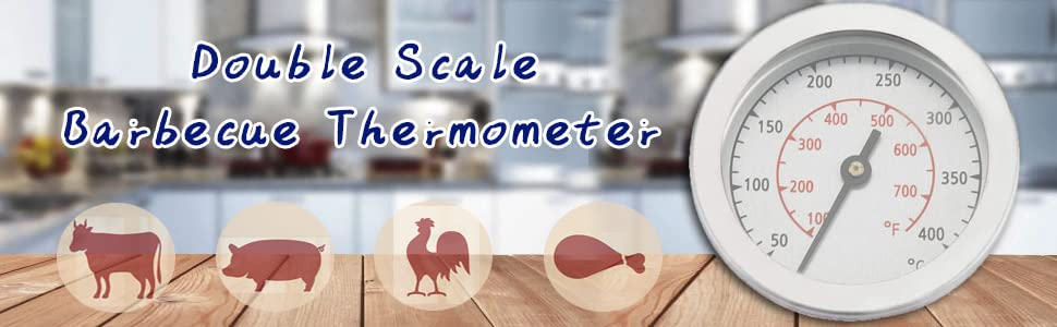 Double scale Barbecue thermometer