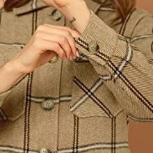 Allegra K Women's Plaid Turndown Collar Single Breasted Winter Jacket with Pockets