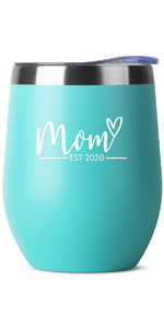 new mom Birthday Gifts for Women Men - 12 oz White Insulated Stainless Steel Tumbler w/Lid