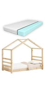 Lit cabane Vardø lit d'enfant forme maison pin 80x160cm bois naturel matelas mousse à froid