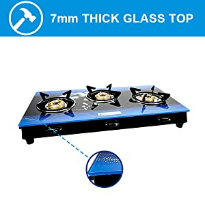 thicker glass top, gas stove glass top, brass burner gas stove, 3 burner glass top gas stove