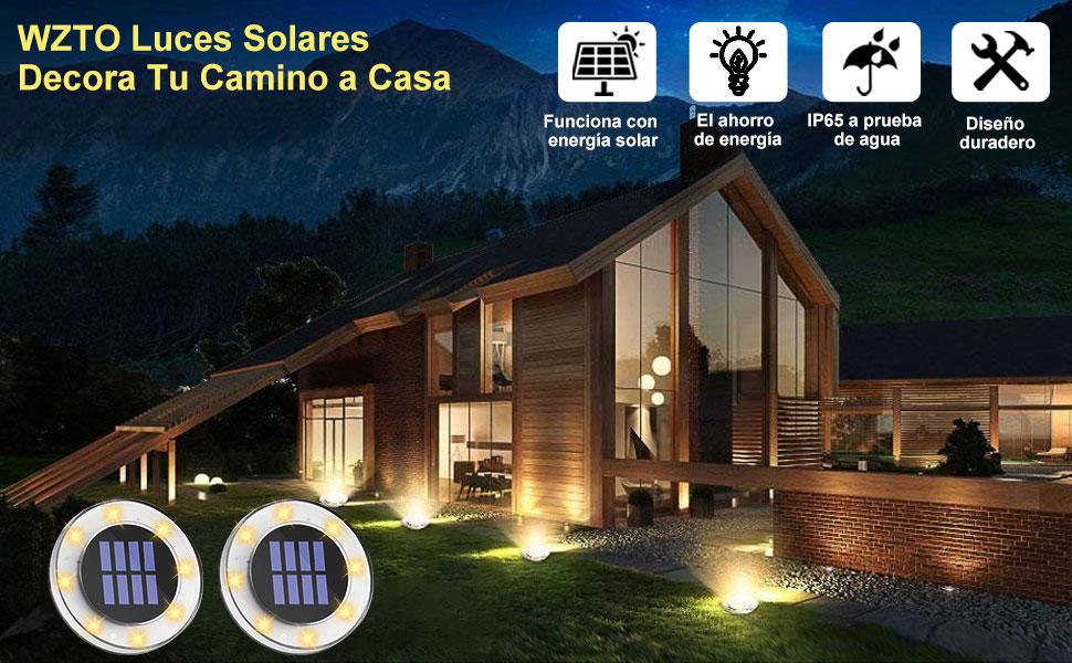Luces Solar de Tierra Luz 8 LED, WZTO 2000LM Luces Solares Jardin Impermeable Lámpara en el Exterior, Patio, Entrada de Garaje, Césped, Decoración de Camin: Amazon.es: Iluminación