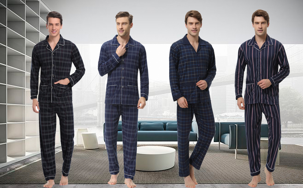 iClosam Pijama Hombre Invierno Algodón Set, Pijamas con Botones Casual Casual Ropa de Dormir Suave y Cómodo Talla S-XXL: Amazon.es: Ropa y accesorios