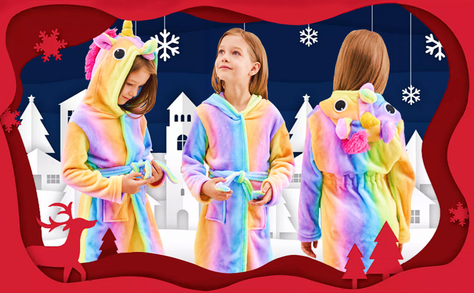 rainbow unicorn bathrobe, robe for girls, unicorn gifts, gifts for girls