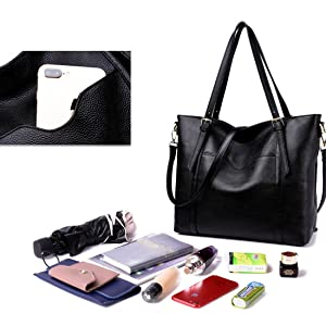 Womens Leather Shoulder Handbags Large Capacity Tote Bag Top Handle Bags Designer Satchel Purse