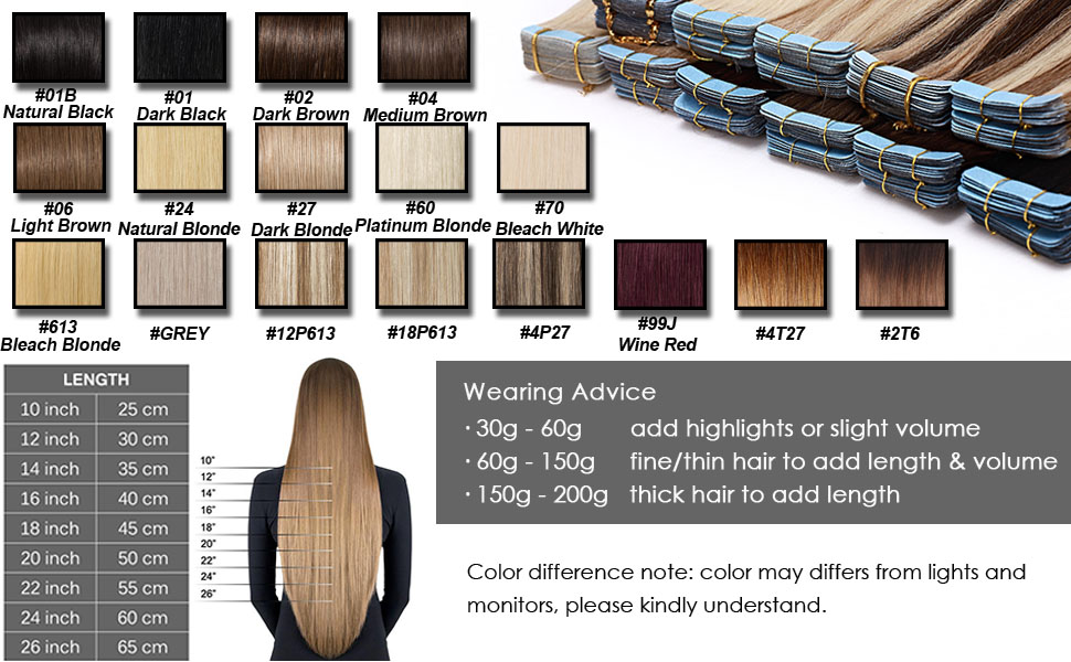 Hairro skin weft tape on human hair extension with multiple color options