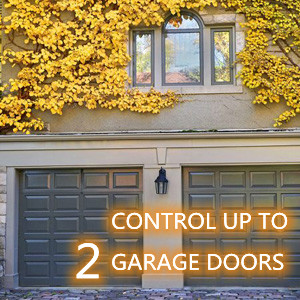 Two buttons, able to control two garage doors with one remote.