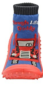 Skidders Baby Toddler Boys Grip with Rubber Soles Non-Slip Flexible Shoes Tough Like Daddy Blue/Red
