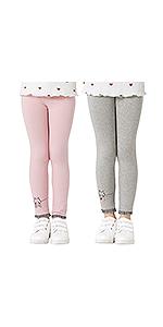 Adorel Leggings Algodón Pantalones Bordados Niñas Pack de 2