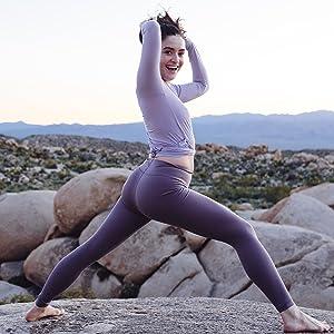 leggings stretch non see through high waist tummy control high waisted tight yoga pockets workout
