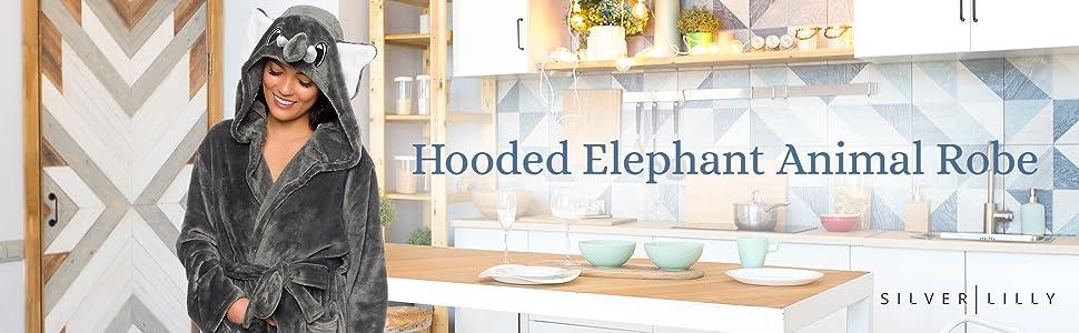 Silver Lilly Women/'s Elephant Animal Hood Plush Short Bath Robe