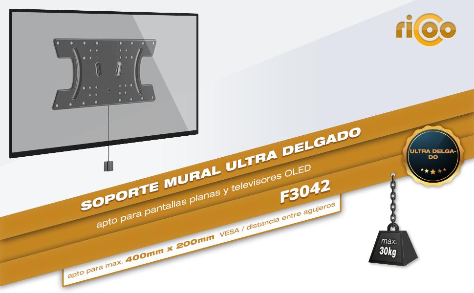 RICOO F3042, Soporte TV Pared, Fijo, Extra-Plano, Ultra Delgado, Televisión 32-65