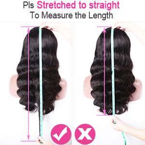 How to Measure the length of the body wave human hair lace front wigs