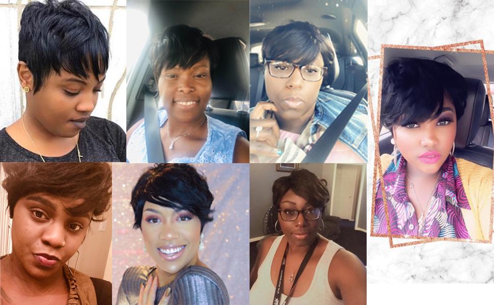short human hair wigs short curly wavy wigs short cut wigs for black women cute summer wigs