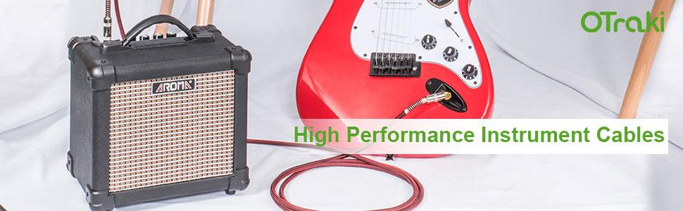 Trasmissione di Audio OTraki Cavo Chitarra 10M con Standard 1//4 Pollici Cavi per Strumenti 6.35mm TS Mono Cavo Stereo Jack per Chitarra Elettrica Amplificatore Basso Elettrico Tastiera