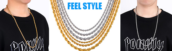 Men Necklace Stainless Steel Chain Gold/Silver Plated Chain 3-5mm Rope Chain for Mens Boy 14-30 Inch