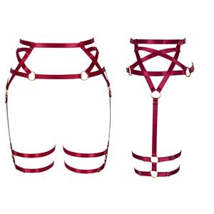 Harness Garter Belt+Wine Red