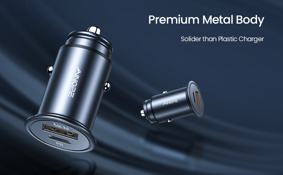 Full Metal Car Charger with Upgraded Safer Chip Multiple Protection