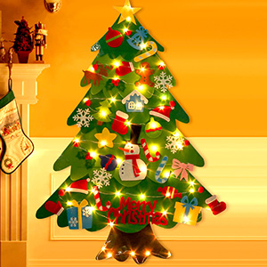 crazy bean Felt Christmas Tree with 10 Metre LED Lights Christmas Santa Claus Snowman Ornaments for Kids Xmas Gifts Home Door Wall Decoration Snowman Blue