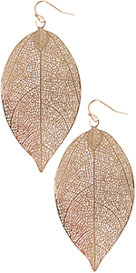 Humble Chic Filigree Leaf Earrings - Delicate Lightweight Cutout Oversized Drop Dangles