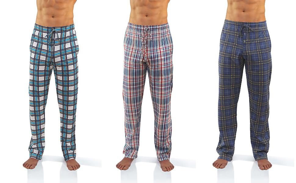 Sesto Senso Pantalones Largos de Pijama Hombre Algodón Pantalón de Dormir Cuadros Estampado Escocés