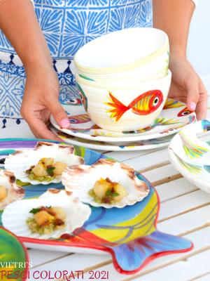 vietri colorful couture hand made glass pesci colorati fishes fish glassware dinnerware dining safe