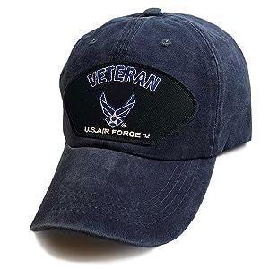 denim blue low profile US Air force veteran hat vetfriends hap arnold wings black patch